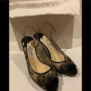 Jimmy Choo Black Lace Patent Leather Pumps Size 39